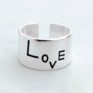 Silver Wide Print LOVE Inspirational Ring